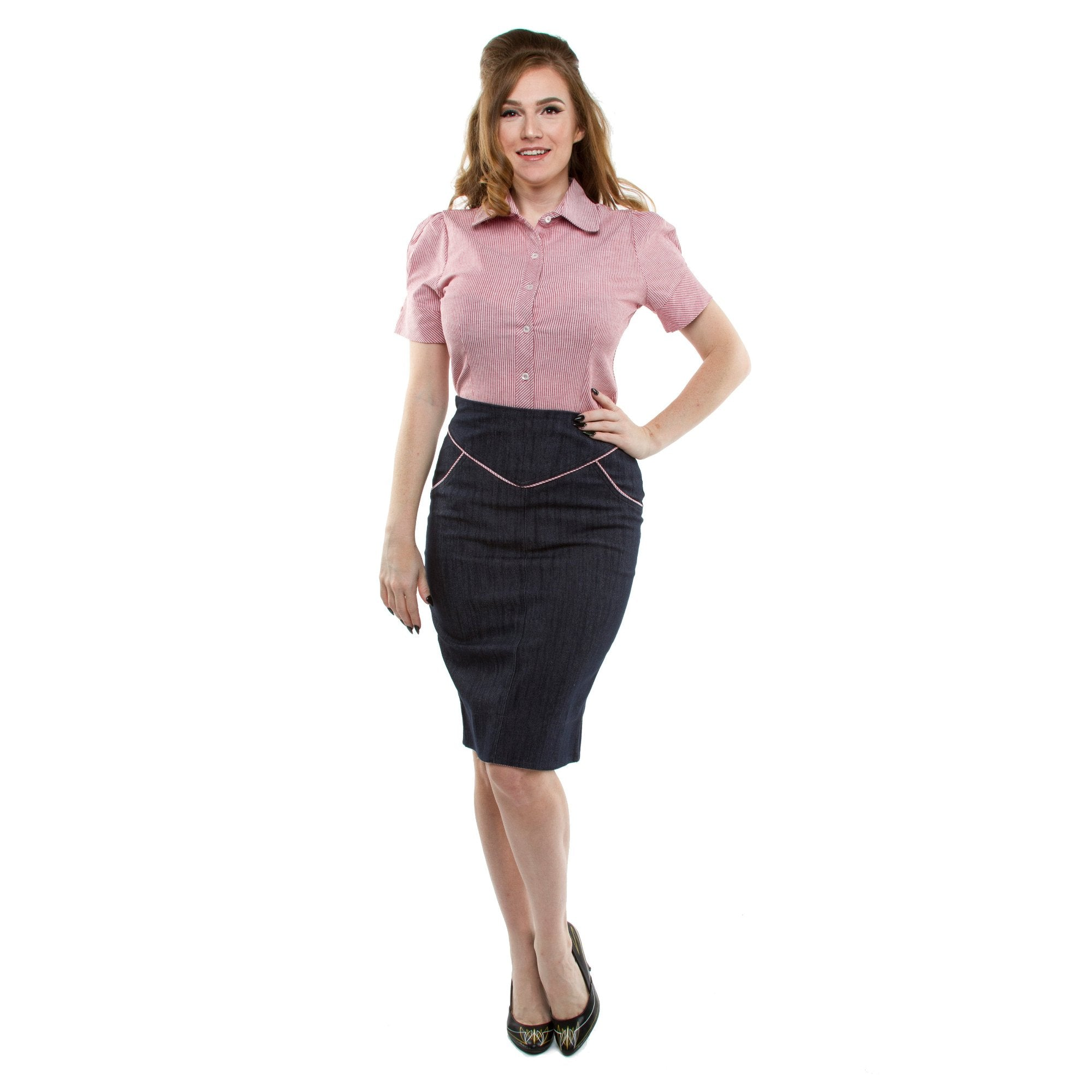 The SUGAR SHACK Denim Slub Pencil Skirt - INDIGO