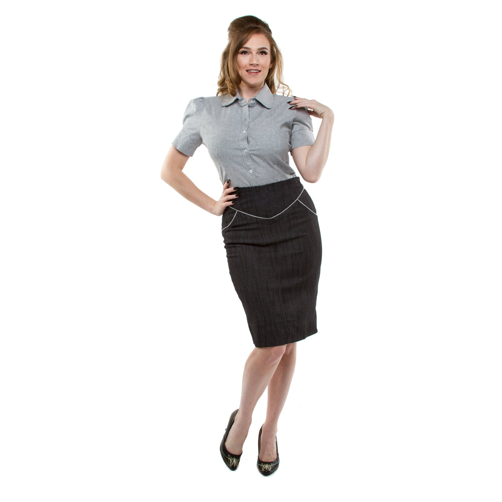 The SUGAR SHACK Denim Slub Pencil Skirt - BLACK - SIZE 2XL ONLY!