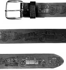 The COUPE 13 Embossed Leather Belt - BLACK