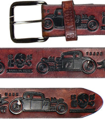 The COUPE 13 Embossed Leather Belt - ANTIQUED BROWN