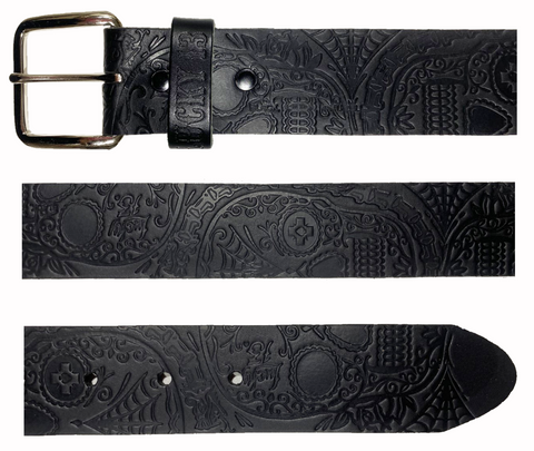 The DEAD SKULL Embossed Leather Belt - Black **NEW**