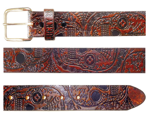 The DEAD SKULL Embossed Leather Belt - Antiqued Brown **NEW**