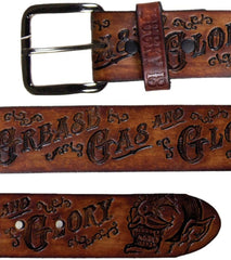 The GREASE, GAS & GLORY Embossed Leather Belt - ANTIQUED BROWN