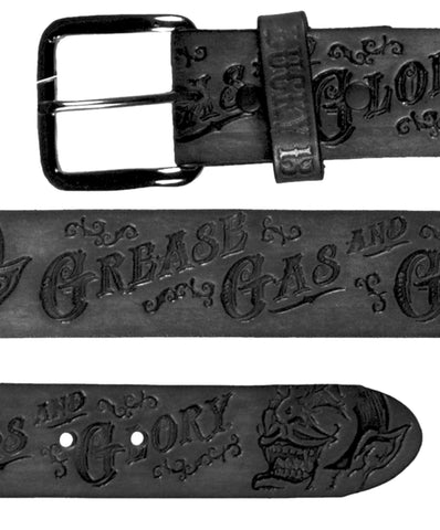 The GREASE, GAS & GLORY Embossed Leather Belt - BLACK