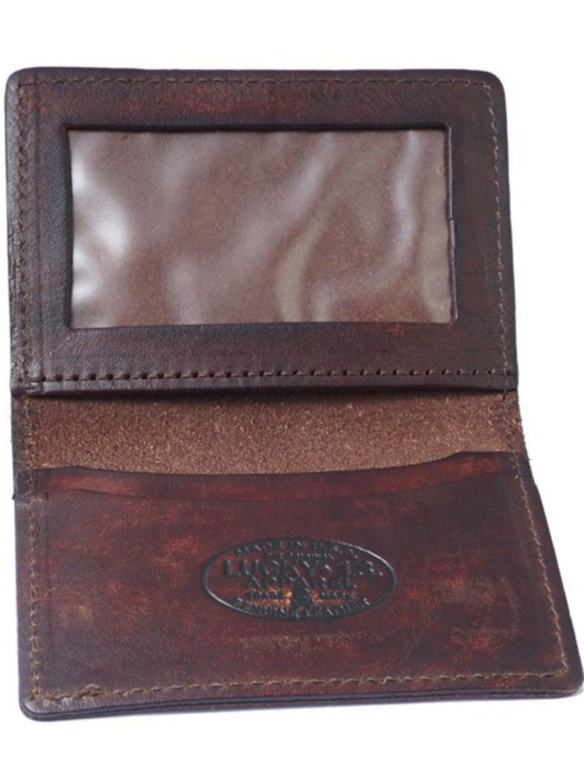 The DEATH OR GLORY Leather Card Holder Wallet - ANTIQUED BROWN