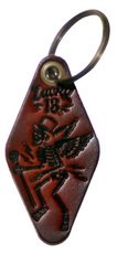 Lucky 13 SKULLY MOTEL Genuine Leather Keychain - HAND PAINTED ANTIQUED BROWN