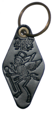 The SKULLY MOTEL Genuine Leather Keychain - BLACK