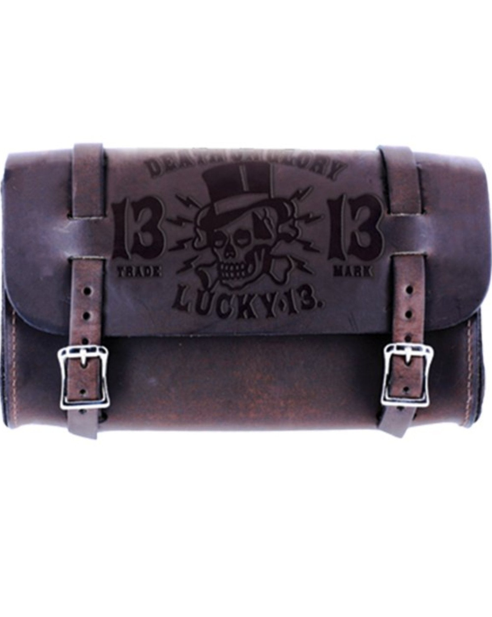The DEATH OR GLORY Embossed Leather Tool Pouch - ANTIQUED BROWN