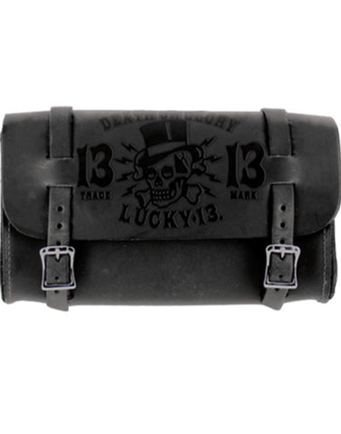 The DEATH OR GLORY Embossed Leather Tool Pouch - BLACK