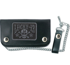 The SKULL STARS Leather Wallet - BLACK/BLACK