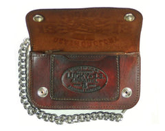 The DEATH OR GLORY Embossed Leather Wallet - ANTIQUED BROWN