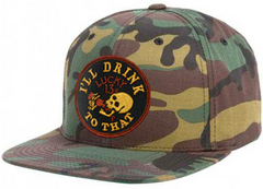 I'LL DRINK TO THAT Flat Bill Snap Back Cap - CAMOUFLAGE