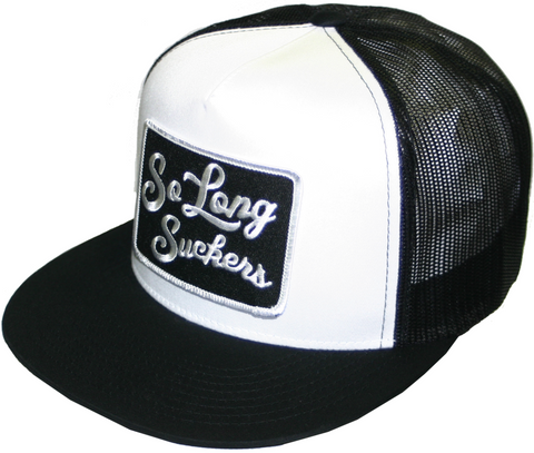 The SO LONG SUCKERS Trucker Cap - BLACK/WHITE