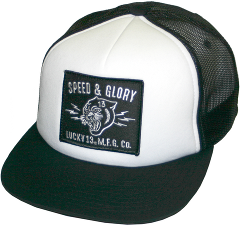 729086cbc31 The PANTHER HEAD Trucker Cap - BLACK WHITE · Lucky 13