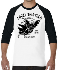 GOOD TIME REAPER Raglan Tee - WHITE/BLACK **NEW**