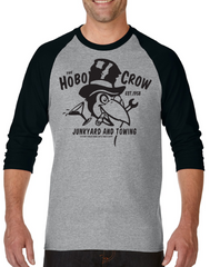HOBO CROW Raglan Tee - HEATHER GREY/BLACK **NEW**