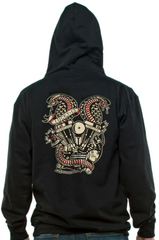 The TWIN COBRAS Full-Zip Hooded Sweatshirt - BLACK