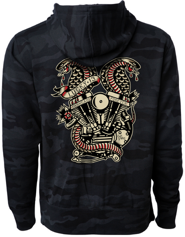 The TWIN COBRA Full-Zip Hooded Sweatshirt - BLACK/CAMO **NEW**
