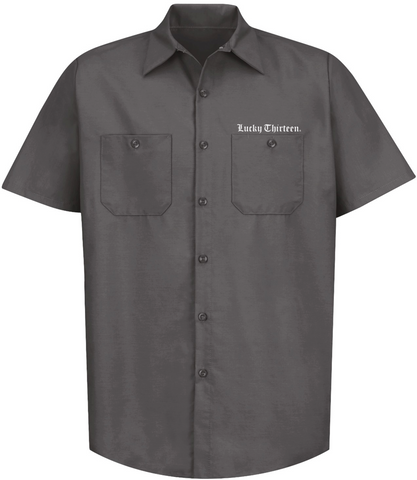 The WINGED SKULLY Work Shirt - CHARCOAL