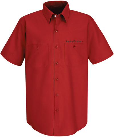 The WINGED SKULLY Work Shirt - RED
