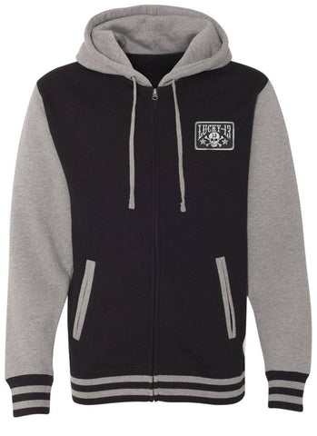The SKULL STARS Hooligan Full Zip Unisex Hooded Sweatshirt - BLACK/GUNMETAL HEATHER