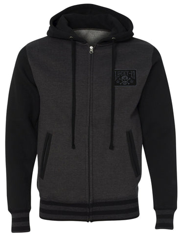 The SKULL STARS Hooligan Full Zip Unisex Hooded Sweatshirt - CHARCOAL HEATHER/BLACK