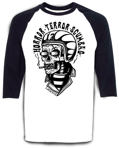 The SCUMBAG Raglan Tee - WHITE/BLACK