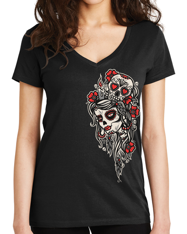 LITTLE DEAD HEAD Women's Deep V-Neck Tee **NEW**