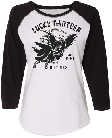 GOOD TIME REAPER Women's 3/4 Sleeve Raglan Tee - WHITE/BLACK **NEW**
