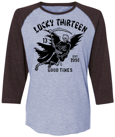 GOOD TIME REAPER Women's 3/4 Sleeve Raglan Tee - HEATHER GREY/VINTAGE SMOKE  **NEW**