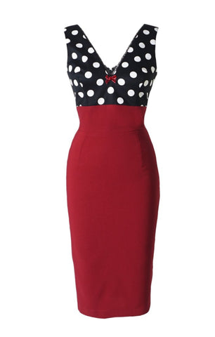 The JAYNE Wiggle Dress - RED/BLACK
