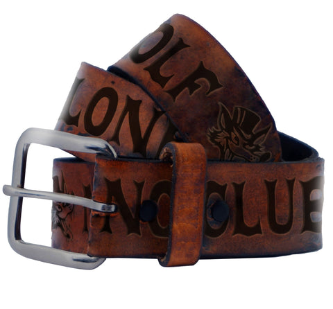 The NO CLUB Belt - ANTIQUED BROWN