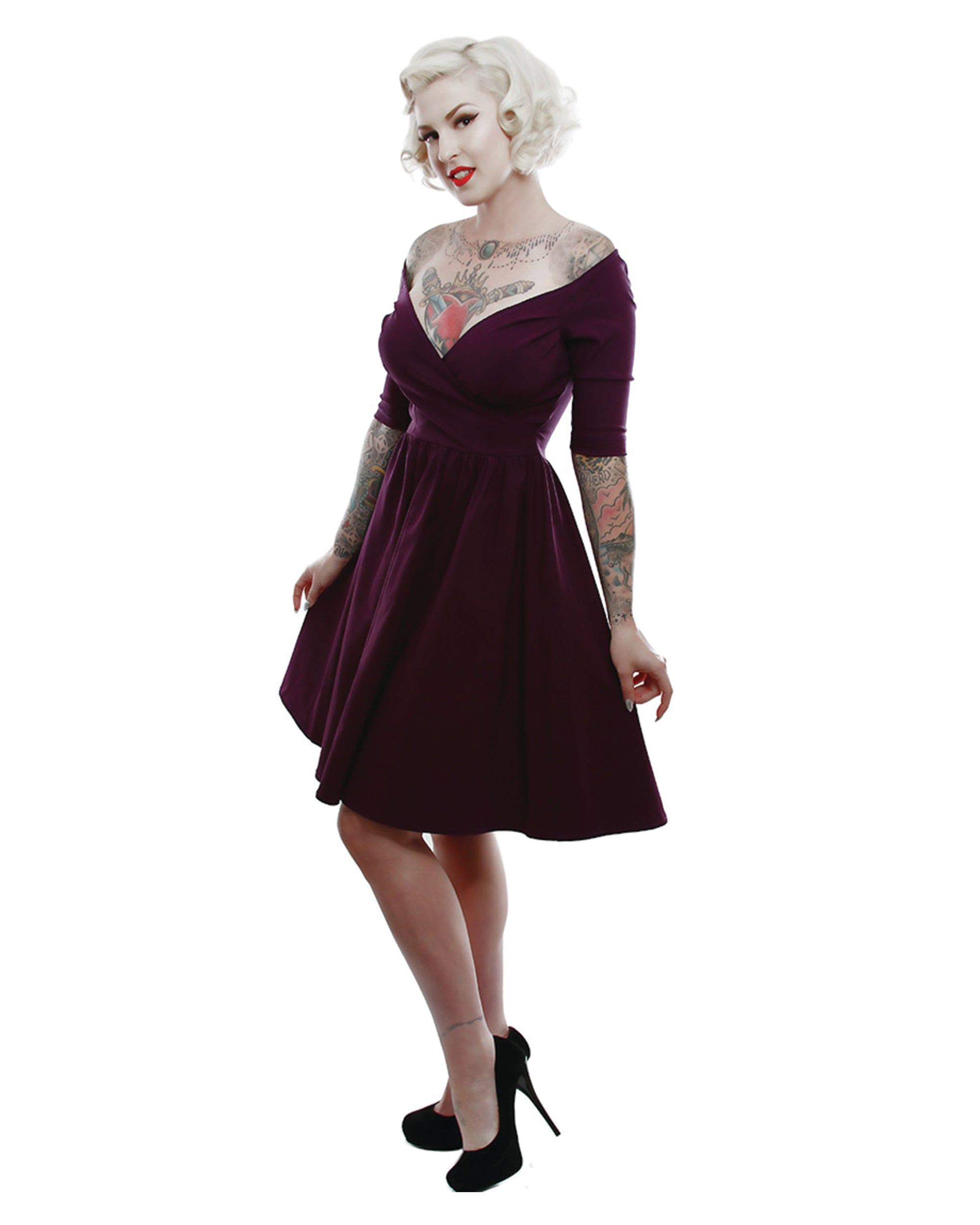 The LOREN Off the Shoulder Bengaline Pinup Dress by Lucky 13 Plum ...