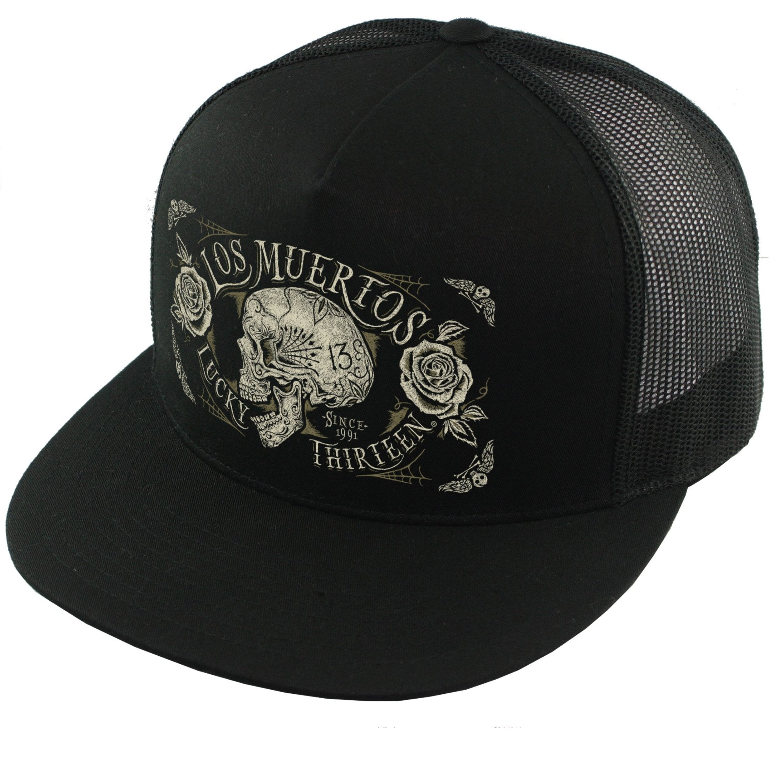 The DEAD SKULL Trucker Cap poplin/mesh snapback trucker cap with transfer by