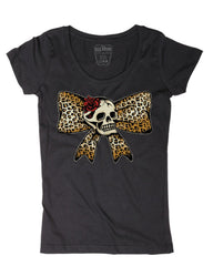 The LEOPARD BOW SKULL Scoop Neck Tee