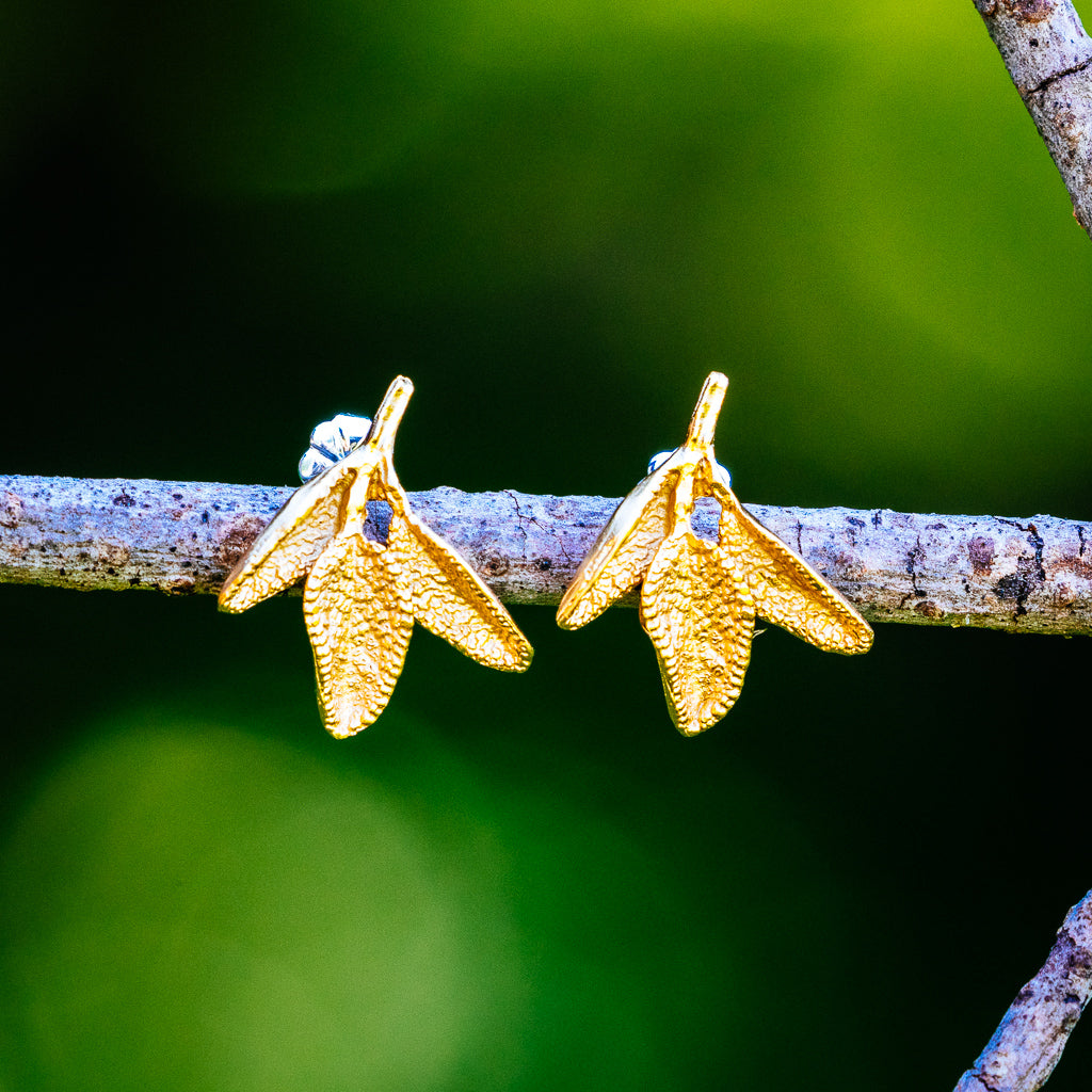 Petite Herb Earrings - Gold Plated