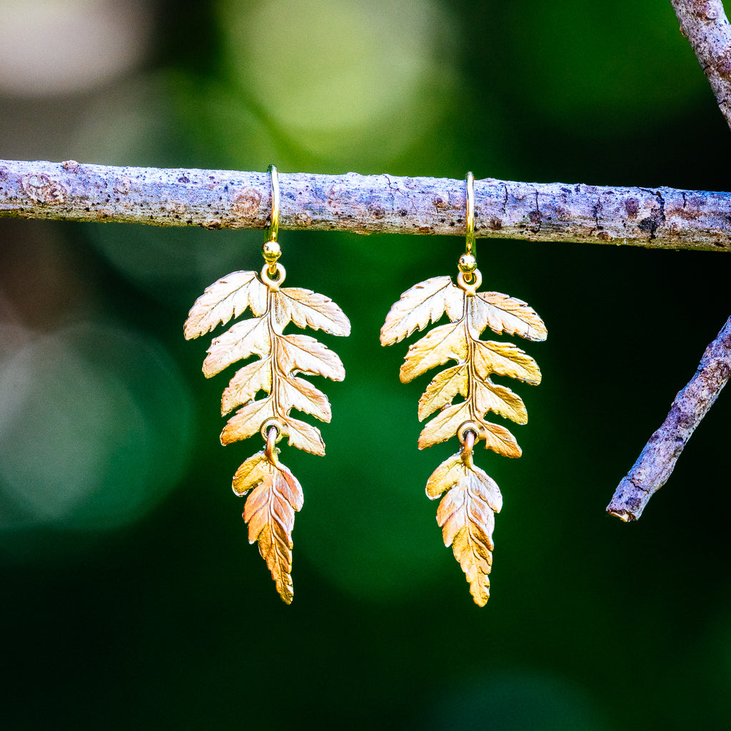 Fern Earrings - Large Single Leaf Wire