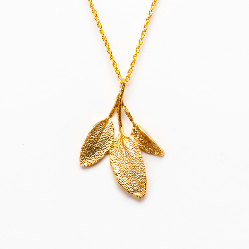 Petite Herb (Sage) Necklace - Gold Plated