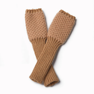Cashmere Blended Chunky Knit Waffle Gloves