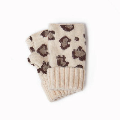 Cashmere Blended Leopard Pattern Fingerless Gloves