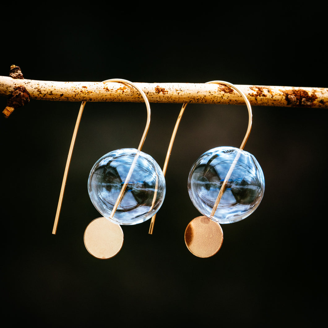 Glass Ball and Moon Earrings