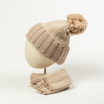 Cashmere Blended Chunky Waffle Pom Pom Hat