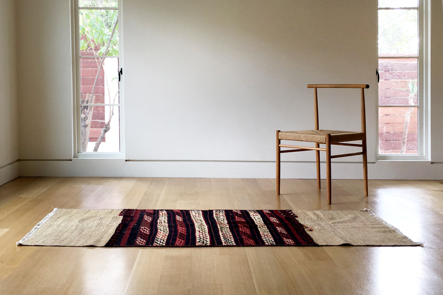 Cream and Burgundy Kilim Runner