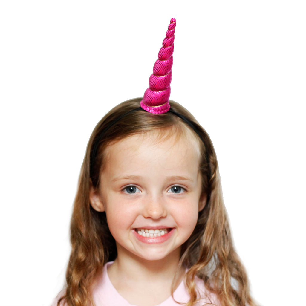 Fuchsia Sparkle Unicorn Horn Original Size by Brooklyn Owl