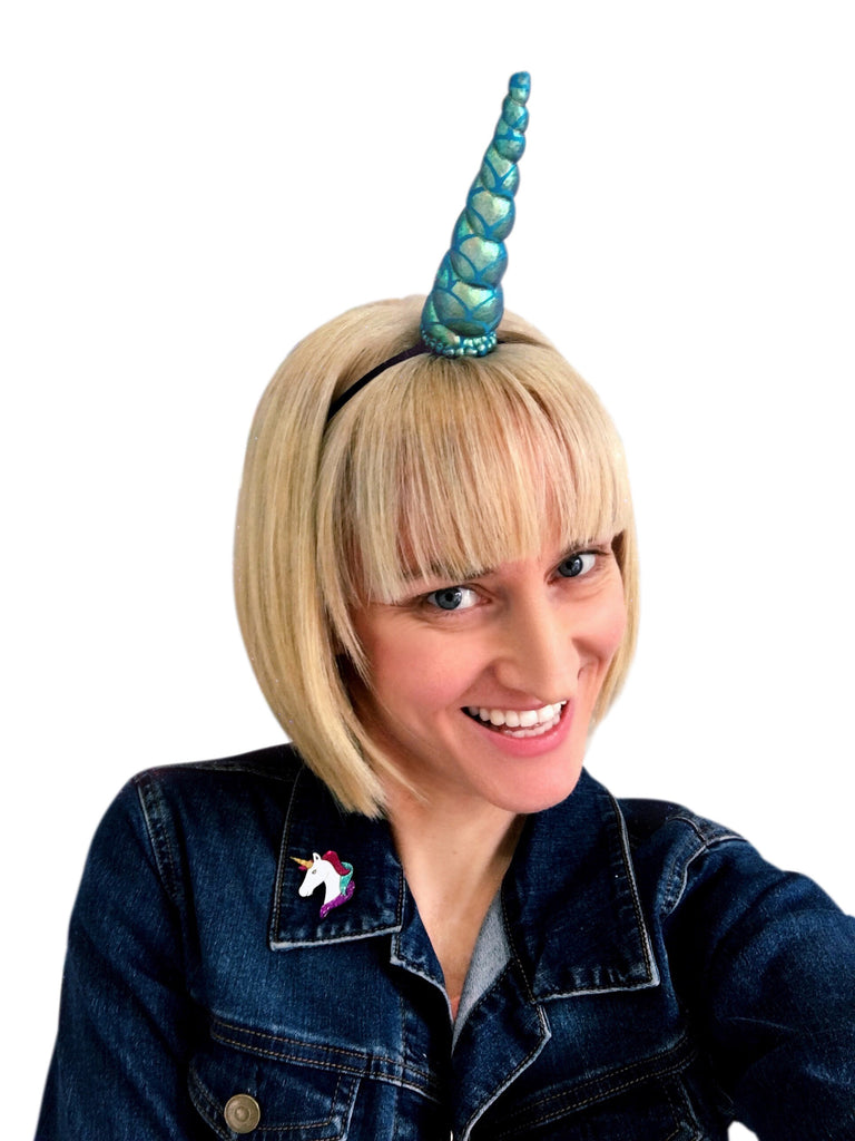 Blue Mermaid Unicorn Horn Original Size by Brooklyn Owl
