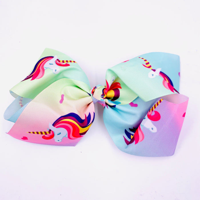 XL Rainbow Unicorn Ribbon Hair Bow  7in by 5in
