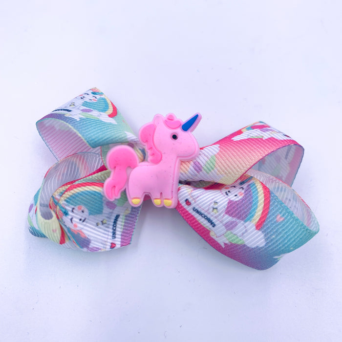 Rainbow Unicorn Ribbon Hair Bow with Pink Center Charm 4x3.5