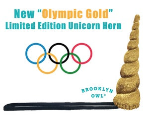 Olympic Gold Unicorn Horn Original Size by Brooklyn Owl