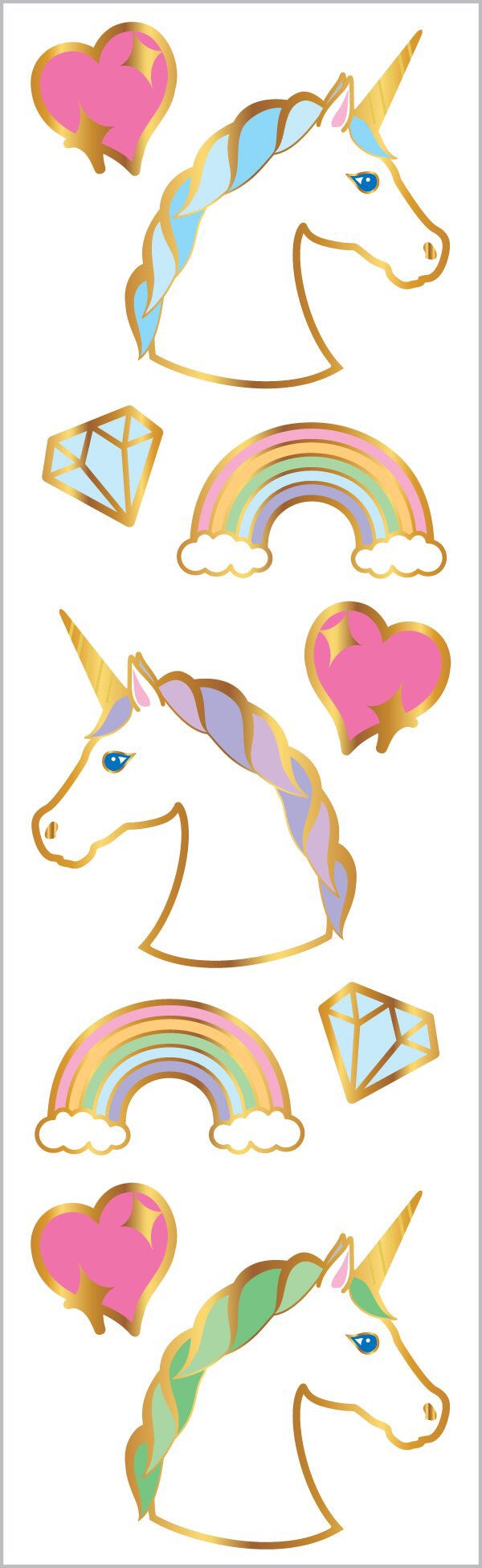Unicorns Portraits Stickers Strip Mrs.G