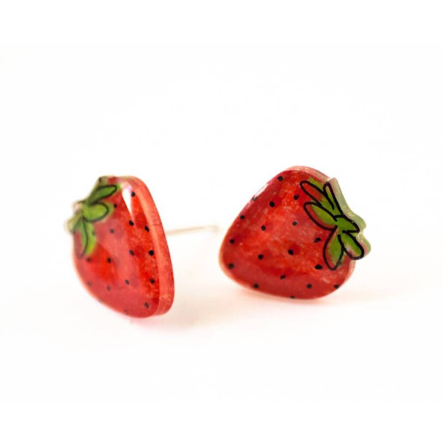 Strawberry Earrings by Poptone with Titanium Posts
